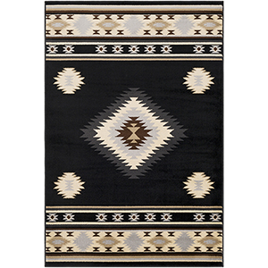 Paramount Black and Cream Rectangular: 7 Ft. 9 In. x 11 Ft. 2 In. Rug