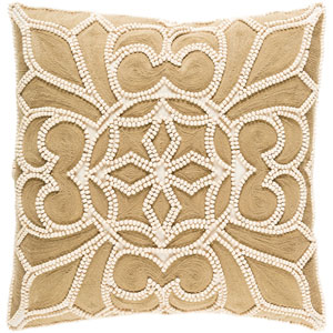 Pastiche Cream and Camel 22 x 22 In. Throw Pillow