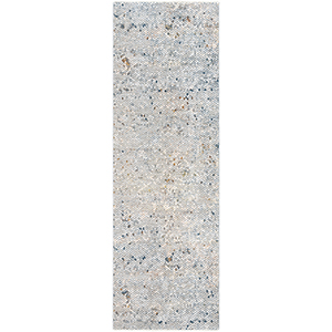 Presidential White and Dark Blue Runner: 3 Ft. 3 In. x 10 Ft. Rug