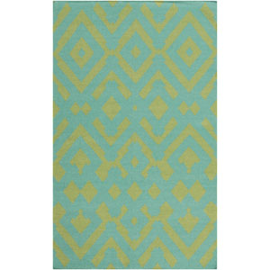 Paddington Teal and Moss Rectangular: 2 Ft x 3 Ft Rug