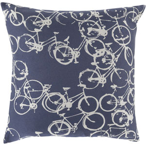 Bold Bicycles Navy and Light Gray 18-Inch Pillow with Down Fill