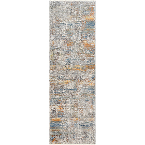 Presidential Bright Blue and Burnt Orange Runner: 3 Ft. 3 In. x 8 Ft. Rug
