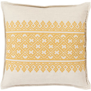 Pentas Yellow and Neutral 20-Inch Pillow with Down Fill