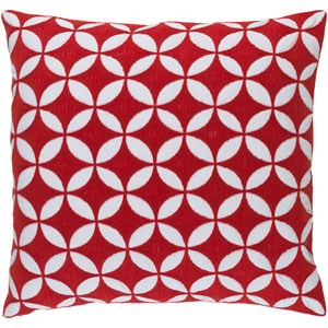 Perimeter Poppy and Ivory 22-Inch Pillow with Poly Fill