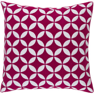 Perimeter Hot Pink and Ivory 22-Inch Pillow with Poly Fill