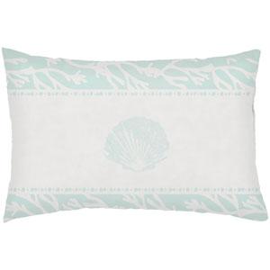 Sea salt and Seashells Seafoam 24 x 14-Inch Throw Pillow