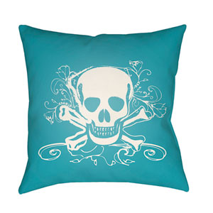 Punk White and Aqua 18 x 18-Inch Pillow