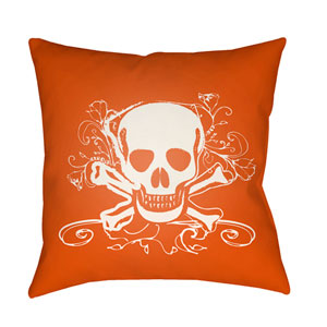 Punk White and Bright Orange 18 x 18-Inch Pillow