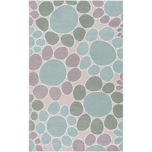 Peek-A-Boo Green and Blue Rectangular: 3 Ft x 5 Ft Rug