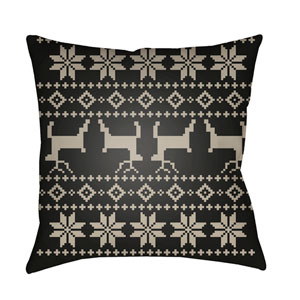 Black Fair Isle I 18-Inch Throw Pillow with Poly Fill