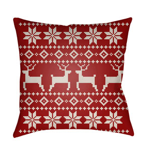 Red Fair Isle I 20-Inch Throw Pillow with Poly Fill