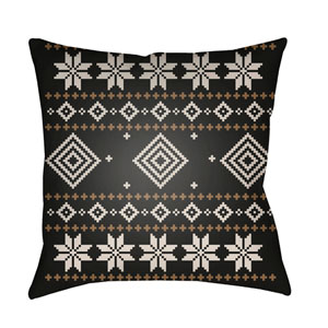 Black Fair Isle II 18-Inch Throw Pillow with Poly Fill