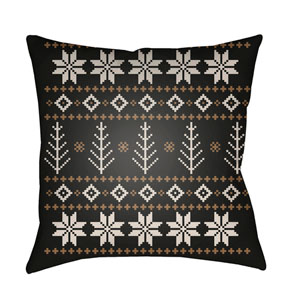 Black Fair Isle III 18-Inch Throw Pillow with Poly Fill