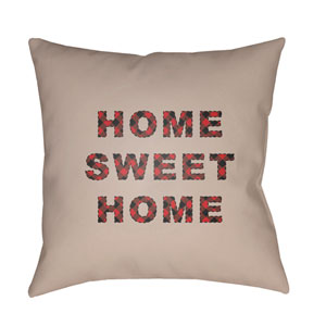 Tan Home Sweet Home 20-Inch Throw Pillow with Poly Fill