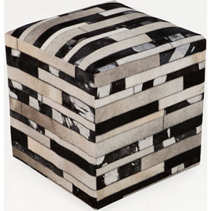 Neutral and Black Poufs Cube Pouf