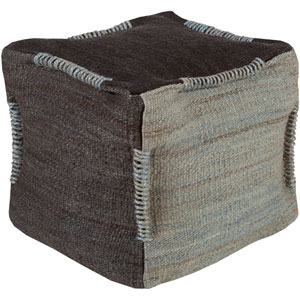 Black and Gray Continental Cube Pouf