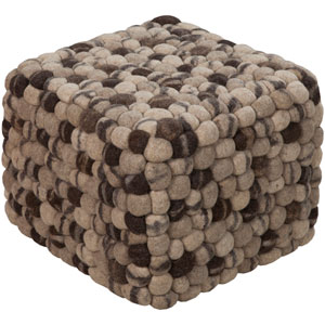 Wool Puff Square Pouf Ottoman I