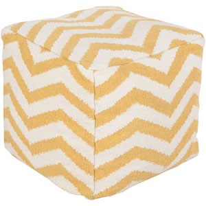 Yellow and Neutral Poufs Cube Pouf