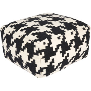 Houndstooth Black Pouf