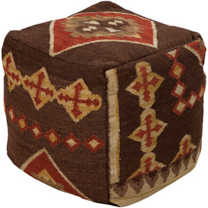 Wool Kilim Square Pouf Ottoman IV