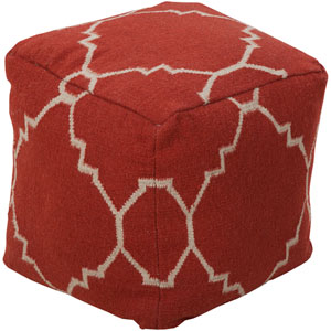 Patterned Red Pouf