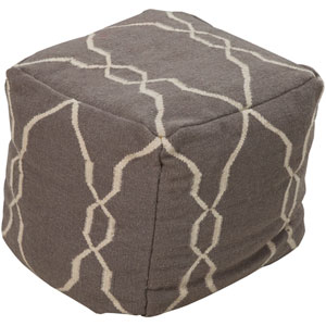 Elephant Gray Square Lattice Pouf Ottoman