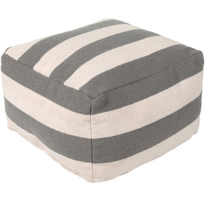 Frontier Medium Gray and Cream Pouf