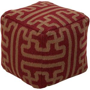 Maroon Geometric Pouf Ottoman