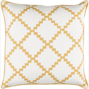 Parsons Ivory and Gold 18-Inch Pillow with Down Fill