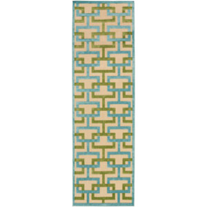Portera Blue and Green Runner: 2 Ft. 6-Inch x 7 Ft. 10-Inch