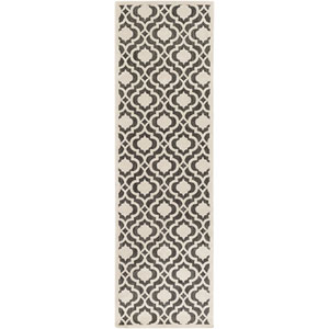 Portera Neutral and Black Runner: 2 Ft. 6-Inch x 7 Ft. 10-Inch