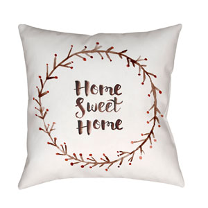 Home Sweet Home II Red and White 18 x 18-Inch Throw Pillow