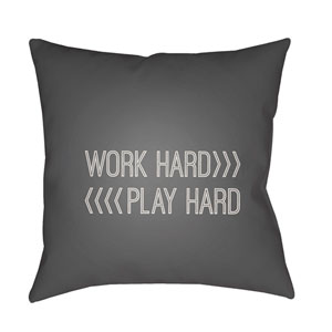 Work Play Gray and Beige 18 x 18-Inch Throw Pillow