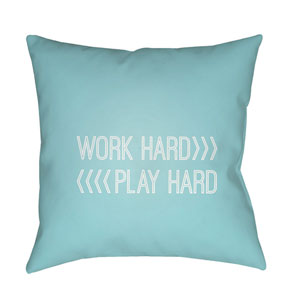 Work Play Blue and White 18 x 18-Inch Throw Pillow
