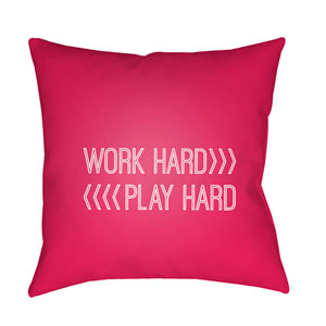 Work Play Red and White 18 x 18-Inch Throw Pillow