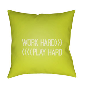 Work Play Green and White 18 x 18-Inch Throw Pillow