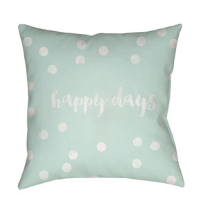 Happy Days Green and White 18 x 18-Inch Throw Pillow