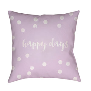 Happy Days Purple and White 18 x 18-Inch Throw Pillow
