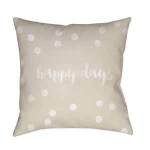 Happy Days Tan and White 18 x 18-Inch Throw Pillow