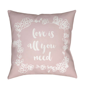Love All You Need Pink and White 18 x 18-Inch Throw Pillow