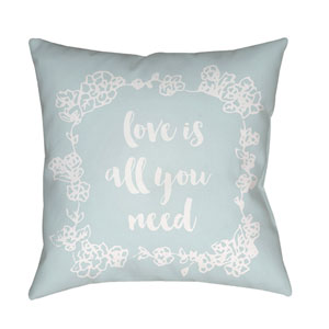 Love All You Need Blue and White 18 x 18-Inch Throw Pillow