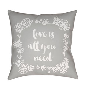 Love All You Need Gray and White 18 x 18-Inch Throw Pillow