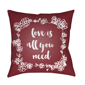 Love All You Need Red and White 18 x 18-Inch Throw Pillow