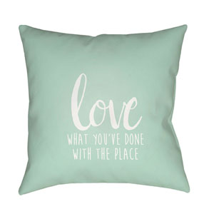 Love The Place Green and White 18 x 18-Inch Throw Pillow