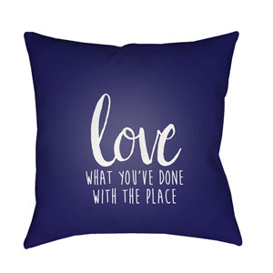 Love The Place Blue and White 20 x 20-Inch Throw Pillow