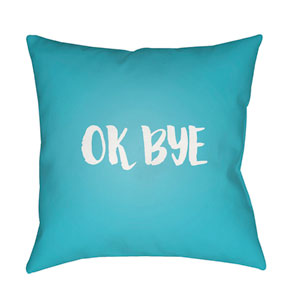 Ok Bye Blue and White 18 x 18-Inch Throw Pillow
