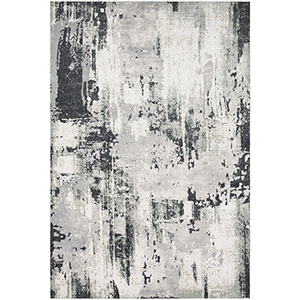 Quatro Silver and Charcoal Rectangular: 6 Ft. 7 In. x 9 Ft. 6 In. Rug