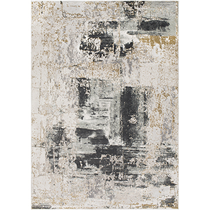 Quatro Charcoal and Tan Rectangular: 6 Ft. 7 In. x 9 Ft. 6 In. Rug