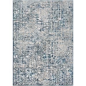Quatro Dark Blue and Grey Rectangular: 6 Ft. 7 In. x 9 Ft. 6 In. Rug