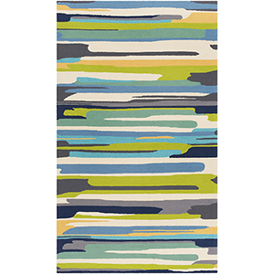 Rain Lime and Blue Indoor/Outdoor Rectangular: 8 Ft. x 10 Ft. Rug